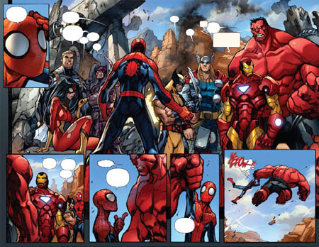 Avenging Spider-Man Volume 1 issue #1 double page 8 and 9