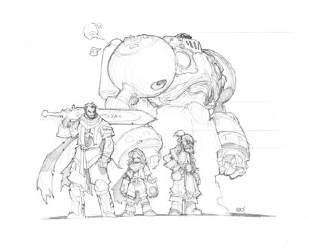 Battle Chasers Anthology team sketch (Pencil)