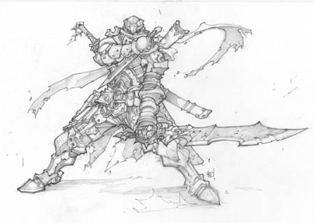 Battle Chasers Anthology unknown warrior sketch (Pencil)