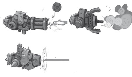 Battle Chasers NightWar Calibretto's canons concepts (Sketch)
