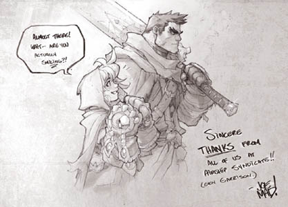 Battle Chasers Nightwar game Gully and Garrison (smiling!) (Pencil)