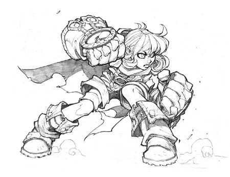 Gully concept art for Battle Chasers game (Pencil)