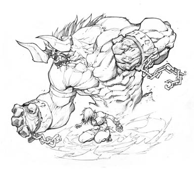 Battle Chasers Nightwar game creature concept art: Bulgrim