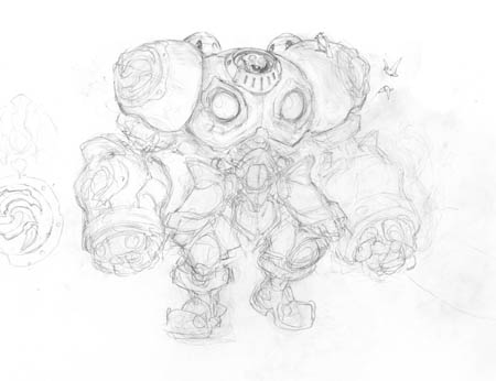Battle Chasers NightWar Calibretto concept art (Sketch)