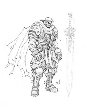 Battle Chasers Nightwar game Garrison 1st sketch (Pencil)