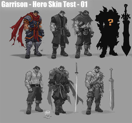Battle Chasers Nightwar alternate Garrison skins concept art (Texture)
