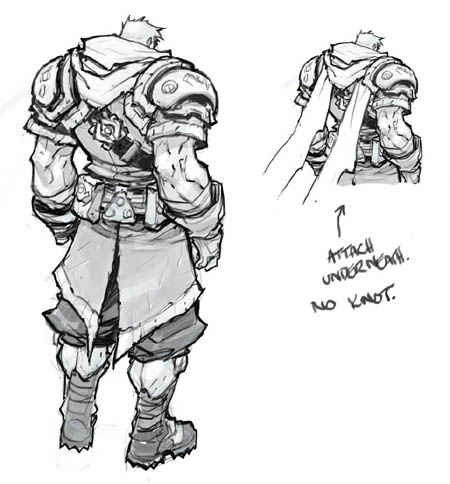 Battle Chasers NightWar Garrison's back  concept art (Pencil)