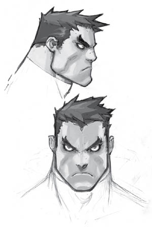 Battle Chasers NightWar Garrison's Face  concept art (Pencil)