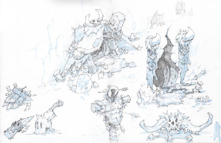 Battle Chasers Nightwar Lycelots cave entrances concept art (Pencil)
