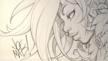 Battle Chasers Nightwar Red Monika portrait mini sketch   (Pencil)