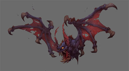 Battle Chasers Nightwar game creature concept art: the Bat (Color)