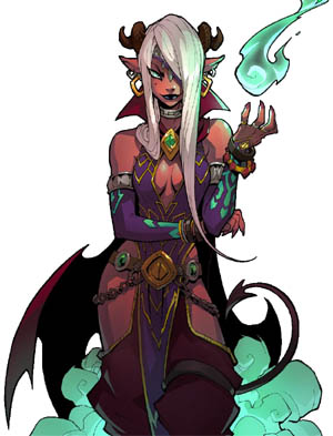 Battle Chasers NightWar master enchanter in game art (Color)
