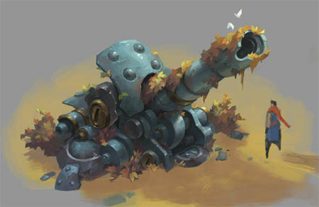 Battle Chasers NightWar Junktown cannon concept art