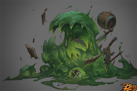 Battle Chasers Nightwar game creature concept art: the slime (Color)