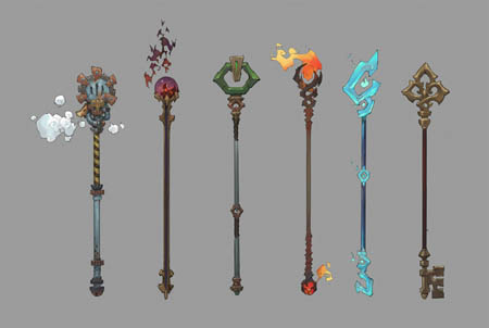 Battle Chasers NightWar Knolan's staffs concept art