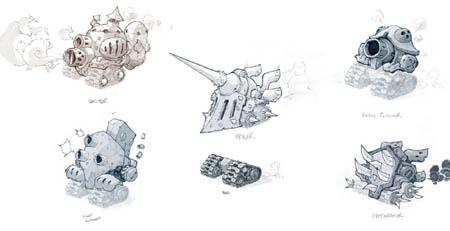 Battle Chasers Nightwar techbots concept art
