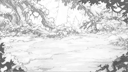 Battle Chasers Nightwar background test render (Pencil)
