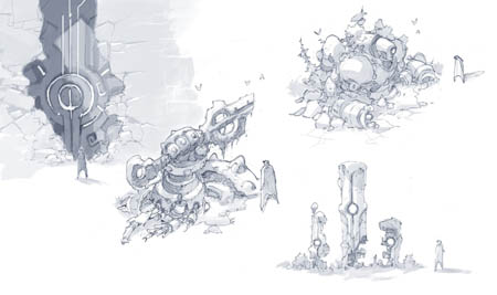 Battle Chasers NightWar the deep snows  wreckage concept art