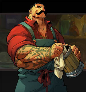 Battle Chasers Nightwar in-game Dogan portrait