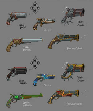 Battle Chasers NightWar Red Monika's guns concept art
