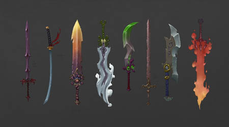 Battle Chasers Nightwar game first weapon concept art (Color)