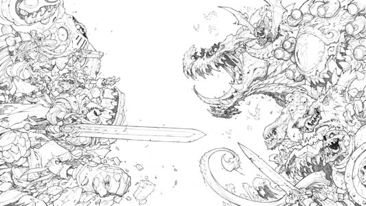 Battle Chasers Nightwar game main promotional art (Pencil)