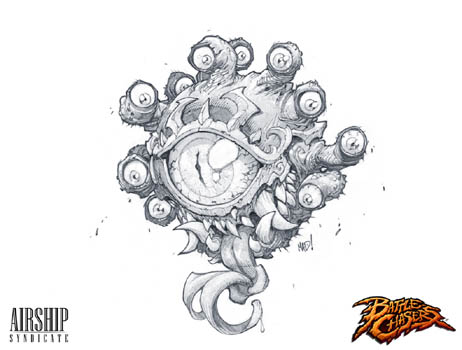 Battle Chasers Nightwar game creature concept art: The Beholder (Pencil)