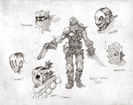 Battle Chasers Nightwar bandit gang thugs concept art (Pencil)