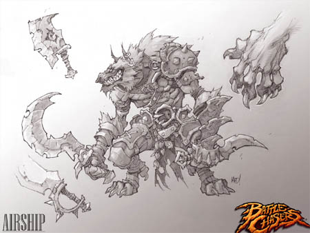 Lycelot concept art for Battle Chasers Nightwar game (Pencil)