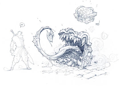 Mimic concept art for Battle Chasers game (Pencil)