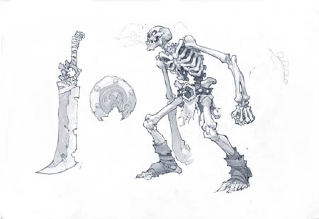 Skeleton Warrior concept art for Battle Chasers Nightwar game
