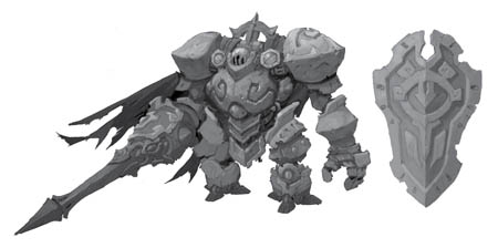 Battle Chasers Nightwar Wargolem Lancer concept art
