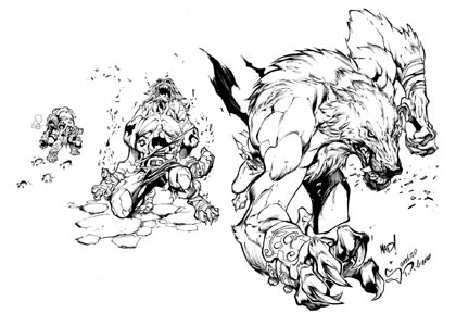 Battle Chasers Nightwar game creature concept art: Werewolf (Ink)