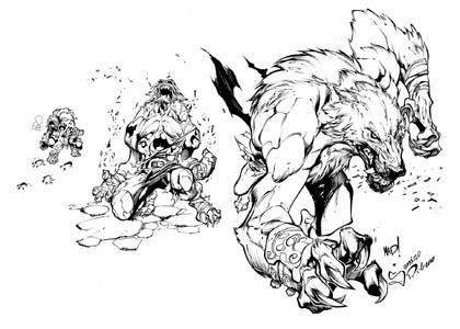 Battle Chasers Nightwar game creature concept art: Werewolf (Ink)