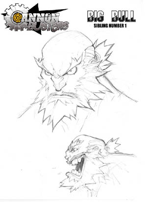 Cannon Busters Big Bull portrait concept art (Pencil)