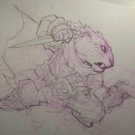 "Crowfall ""Mad Duelist"" promo art (Sketch)"
