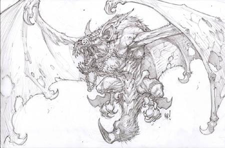 Darksiders monster Duskwing bat concept art (Pencil)