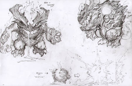 Darksiders Fleamag monster concept art (unused) (Pencil)
