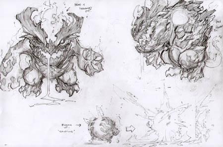 Darksiders Fleamag monster concept art (unused) (Pencil)