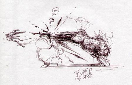 Darksiders: Ruin kick concept art (Sketch)