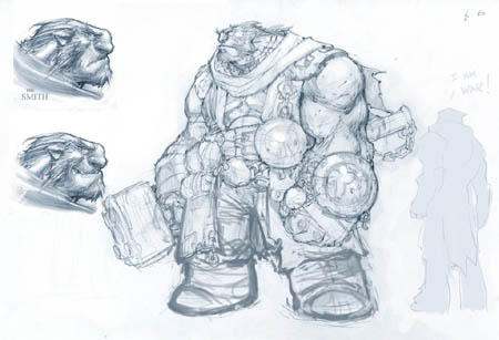 Darksiders: Ulthane The Black Hammer concept art (Sketch)