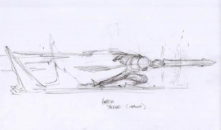 Darksiders: War harpon tackle impaler concept art (Sketch)