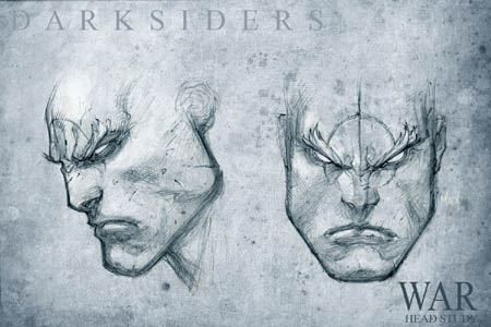 Darksiders War head study concept art (Pencil)