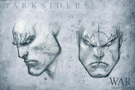 Darksiders War head study concept art (Pencil)