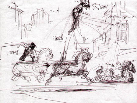 Darksiders: War standing jump concept art (Sketch)