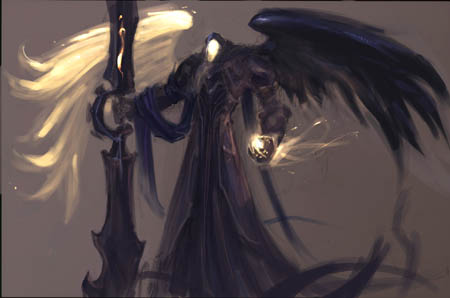 Darksiders Abaddon dark angel early concept art sketch (Sketch)