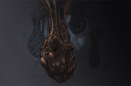 "Darksiders ""bat-sacks"" concept art"