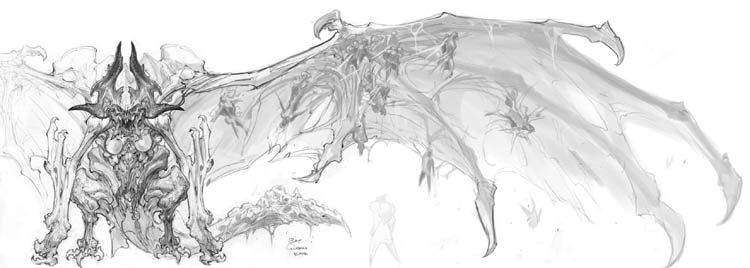 Darksiders Tiamat (Bat) Boss concept art (Pencil)