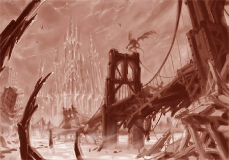 Darksiders bridge concept art sketch