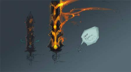 Darksiders War's sword blazing form  concept art sketch (Color)